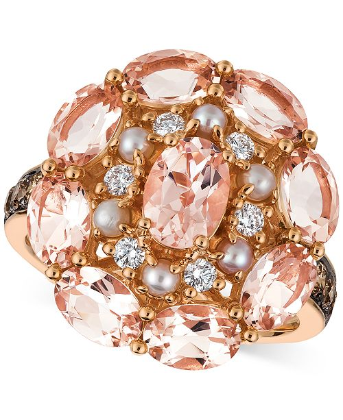 Le Vian Peach Morganite (3 ct. t.w.), Pink Freshwater Pearl (2-1/2mm) & Diamond (1/2 ct. t.w.) Ring in 14k Rose Gold