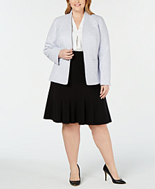 Nine West Plus Size Tweed Kiss-Front Jacket, V-Neck Pleated Top & Flared-Hem Pencil Skirt