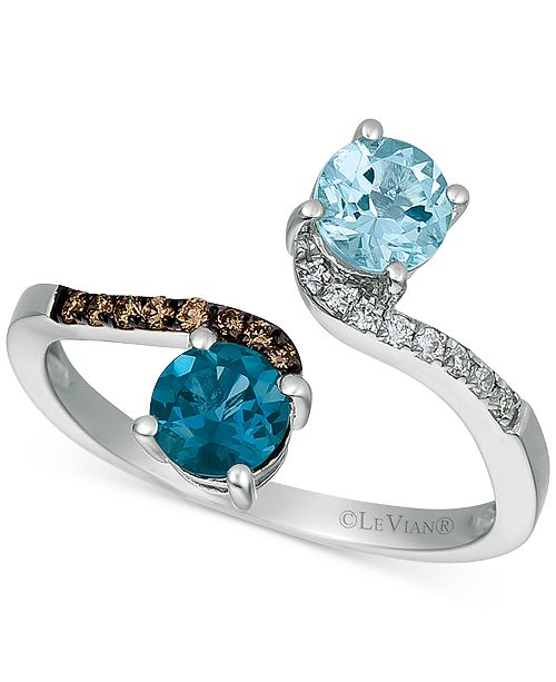 Le Vian Multi-Gemstone (1 ct. t.w.) & Diamond Accent Bypass Ring in 14k White Gold