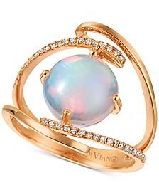 Neopolitan Opal (1-7/8 ct. t.w.) & Vanilla Diamond (1/10 ct. t.w.) Statement Ring in 14k Rose Gold