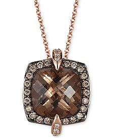 "Le Vian® Chocolate Quartz (3-5/8 ct. t.w.), Bubble Gum Pink Sapphire(1/10 ct. t.w.) & Diamond (1/3 ct. t.w.) 18"" Pendant Necklace in 14k Rose Gold"