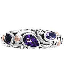 EFFY® Multi-Gemstone Ring (1-1/5 ct. t.w) in Sterling Silver & 18k Rose Gold-Plate