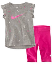 4451571fdeee1d Nike Baby Girls 2-Pc. Swooshfetti Tunic   Capri Set
