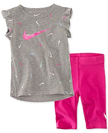 Nike Baby Girls 2-Pc. Swooshfetti Tunic & Capri Set