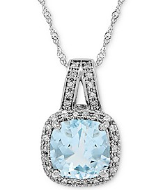 "Aquamarine (1-1/3 ct. t.w.) & Diamond (1/10 ct. t.w.) 18"" Pendant Necklace in 14k White Gold"