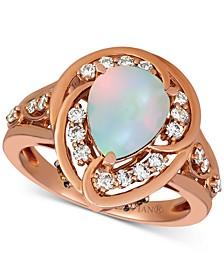 Neopolitan Opal (1 ct. t.w.) & Diamond (1/2 ct. t.w.) Pear Statement Ring in 14k Rose Gold