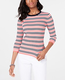 Tommy Hilfiger Cotton Striped Ribbed Sweater, Created for Macy's