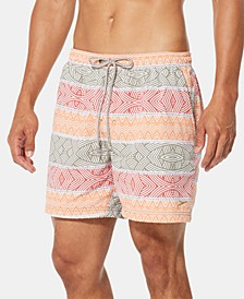 "Men's Inwrought Geo-Stripe 6"" Swim Trunks"