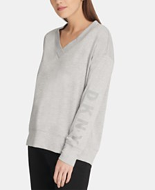 DKNY Long-Sleeve V-Neck Logo Sweatshirt