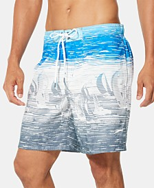 "Speedo Men's TurboDri Colorblocked Sailboat-Print E-Board 7"" Swim Trunks"