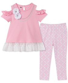 Kids Headquarters Little Girls 2-Pc. Cold Shoulder Tunic & Printed Leggings Set