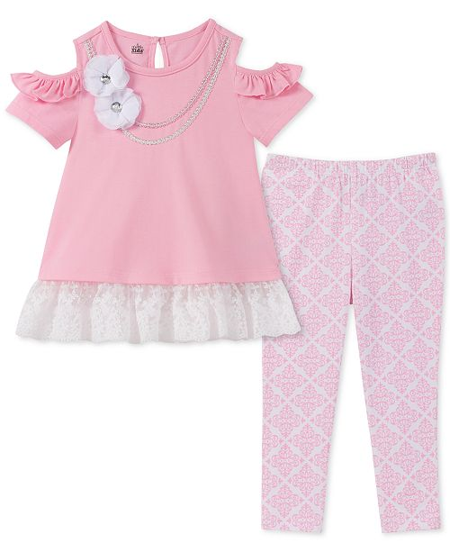 65df442a9 Kids Headquarters Little Girls 2-Pc. Cold Shoulder Tunic & Printed Leggings  Set