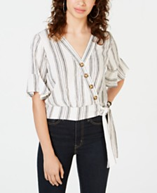 Gypsies & Moondust Juniors' Striped Wrap Blouse