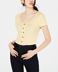 Juniors' Button-Trimmed Rib-Knit Crop Top