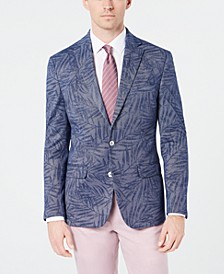 Men's Classic-Fit Blue Denim Palm-Print Knit Sport Coat