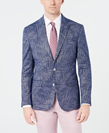 Lauren Ralph Lauren Men's Classic-Fit Blue Denim Palm-Print Knit Sport Coat