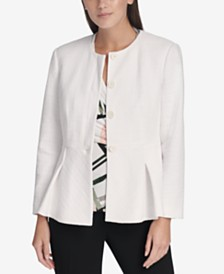 DKNY Peplum-Hem Button-Up Jacket