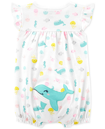 Carter's Baby Girls Whale Cotton Romper