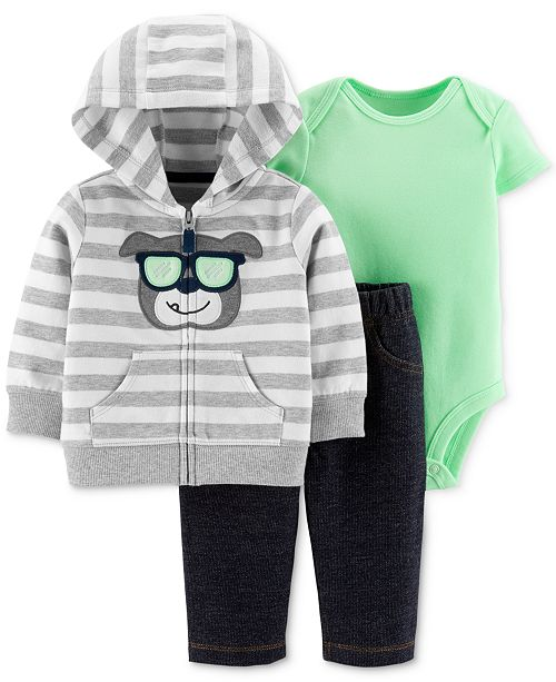 Carter's Baby Boys 3-Pc. Bulldog Cotton Hoodie, Bodysuit & Pants Set