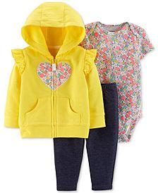 Carter's Baby Girls 3-Pc. Heart Hoodie, Floral-Print Bodysuit & Pants Set