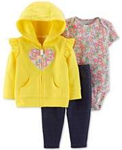 9e9b1aad8 Carter's Baby Girls 3-Pc. Heart Hoodie, Floral-Print Bodysuit & Pants