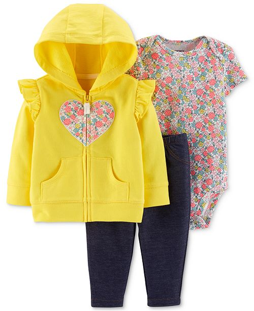Carter's Baby Girls 3-Pc. Heart Hoodie, Floral-Print Bodysuit & Pants Set