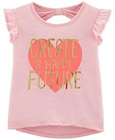 Toddler Girls Happy Future Graphic Cotton T-Shirt