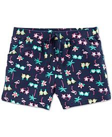 Little Girls Sunnies-Print Cotton Shorts