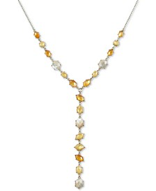 "Lucky Brand Two-Tone Multi-Stone Lariat Necklace, 18"" + 2"" extender"
