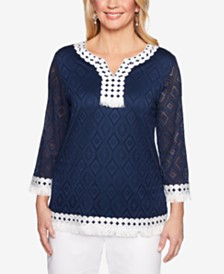 Alfred Dunner Smooth Sailing Crochet Fringe-Trim Top