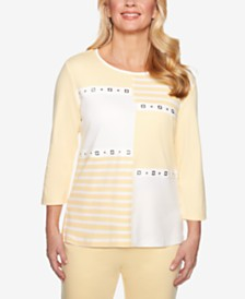 Alfred Dunner Endless Weekend Patchwork 3/4-Sleeve Top