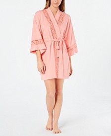Embroidered Lace Soft Knit Robe, Created for Macy's