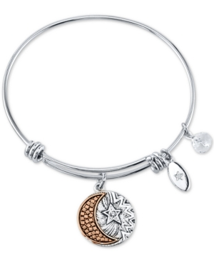 "Unwritten ""You Are My Everything"" Moon and Star Multi-Charm Bangle Bracelet in Stainless Steel & Rose Gold-Tone Stainless Steel"