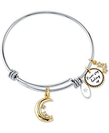 """Never Stop Looking Up"" Crystal Moon & Stars Bangle Bracelet in Stainless Steel & Gold-Tone Stainless Steel"
