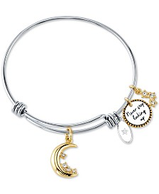 "Unwritten ""Never Stop Looking Up"" Crystal Moon & Stars Bangle Bracelet in Stainless Steel & Gold-Tone Stainless Steel"