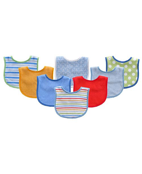 Luvable Friends Drooler Bibs, 8-Pack, One Size