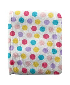 Dot Print Coral Fleece Blanket, Pink, One Size