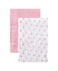 Hudson Baby Muslin Swaddle Blanket, 2-Pack, Pink, One Size