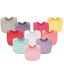 Hudson Baby Drooler Bibs with Waterproof Lining, 10-Pack, Girl Solids, One Size