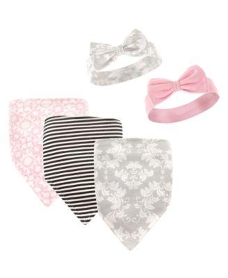 Country Girl 5 Piece Flower /& Pink Bandanna Baby Bib /& Baby Bow Headband Set