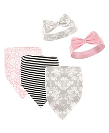 Bandana Bibs and Headbands, 5-Piece Set, Gray Flowers, 0-9 Months