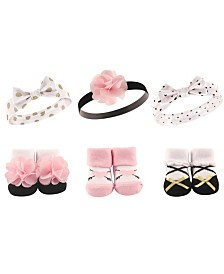 Hudson Baby Headbands and Socks Gift Set, 6-Piece, 0-9 Months