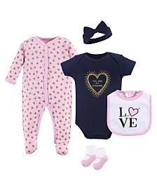Hudson Baby Sleeper, Bodysuits, Bibs, Cap and Socks Set, 5-Piece, 0-9 Months