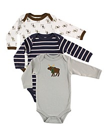 Boys and Girls Moose Long-Sleeve Bodysuits, Pack of 3