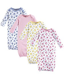 Cotton Gowns, 4-Pack, Floral, 0-6 Months