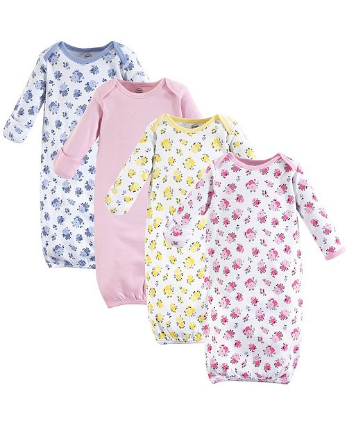 Baby Vision Luvable Friends Cotton Gowns, 4-Pack, Floral, 0-6 Months