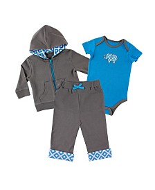 Yoga Sprout Hoodie, Bodysuits and Pants, 3-Piece Set, Blue Elephant, 0-24 Months