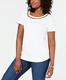 Lattice-Neck Embellished Cotton Top, Created for Macy's
