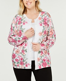 Karen Scott Plus Size Buttercup Field Printed Cardigan, Created for Macy's