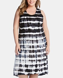 Karen Kane Plus Size Tie-Dyed High-Low Dress
